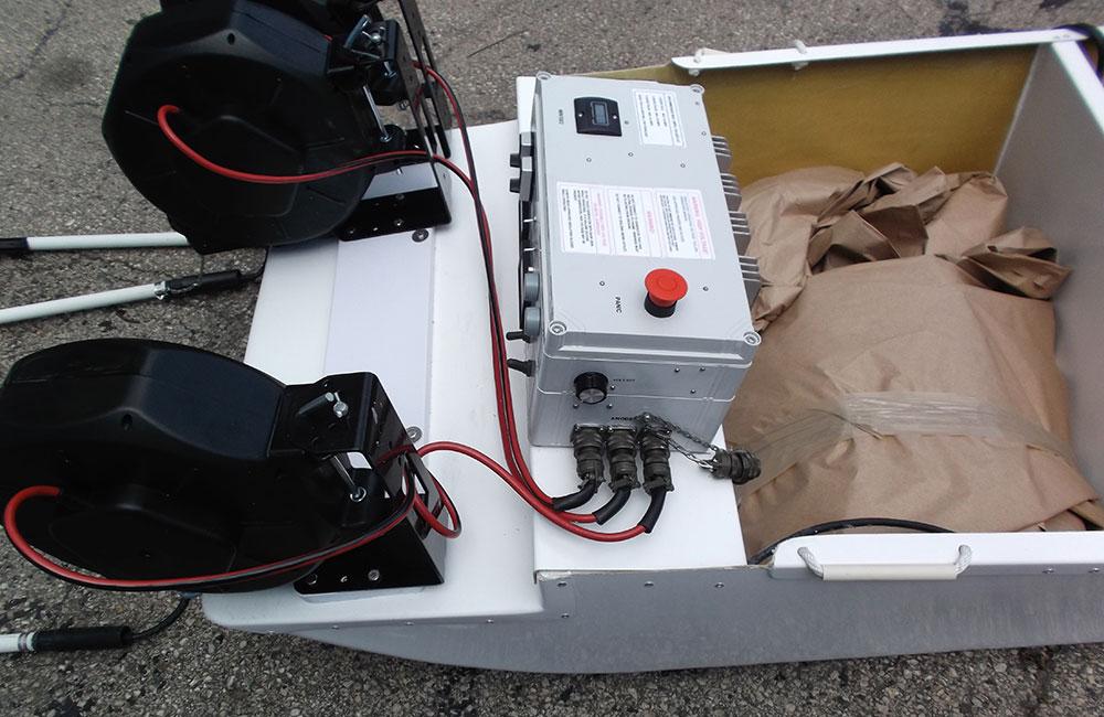 Stream barge electrofishing system